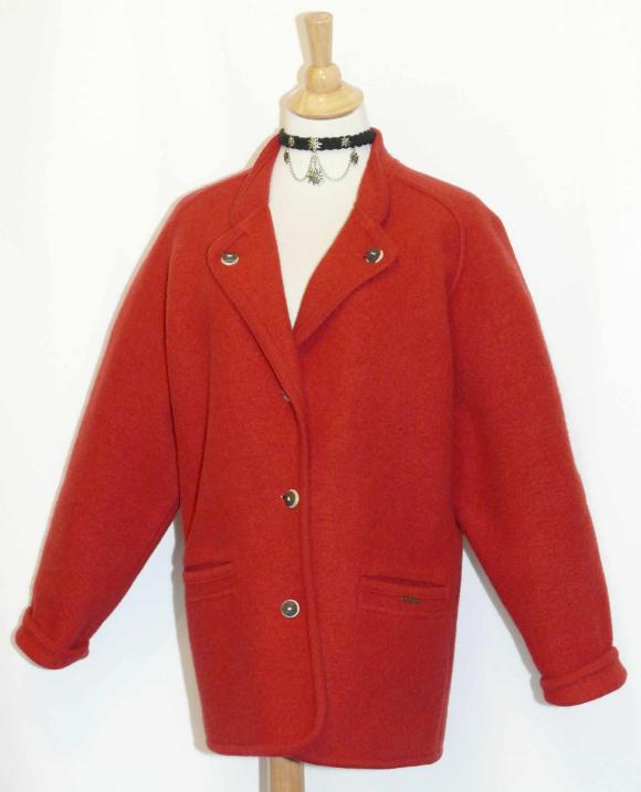 Details about geiger red wool cardigan german sweater jacket 42 12 m